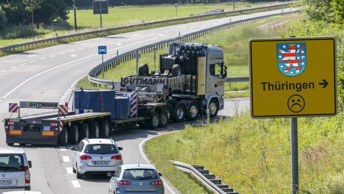 Thüringen Schwerlast Schild Schwergut Spedition Autobahn