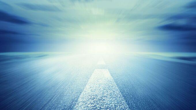 Straße, Blauer Himmel, Zukunft